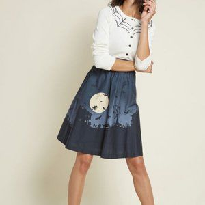 Modcloth Hint of Haunted Cotton A-line Skirt S
